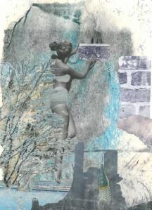 Collage aus Zeitschriftenmaterial, das im Freien lag