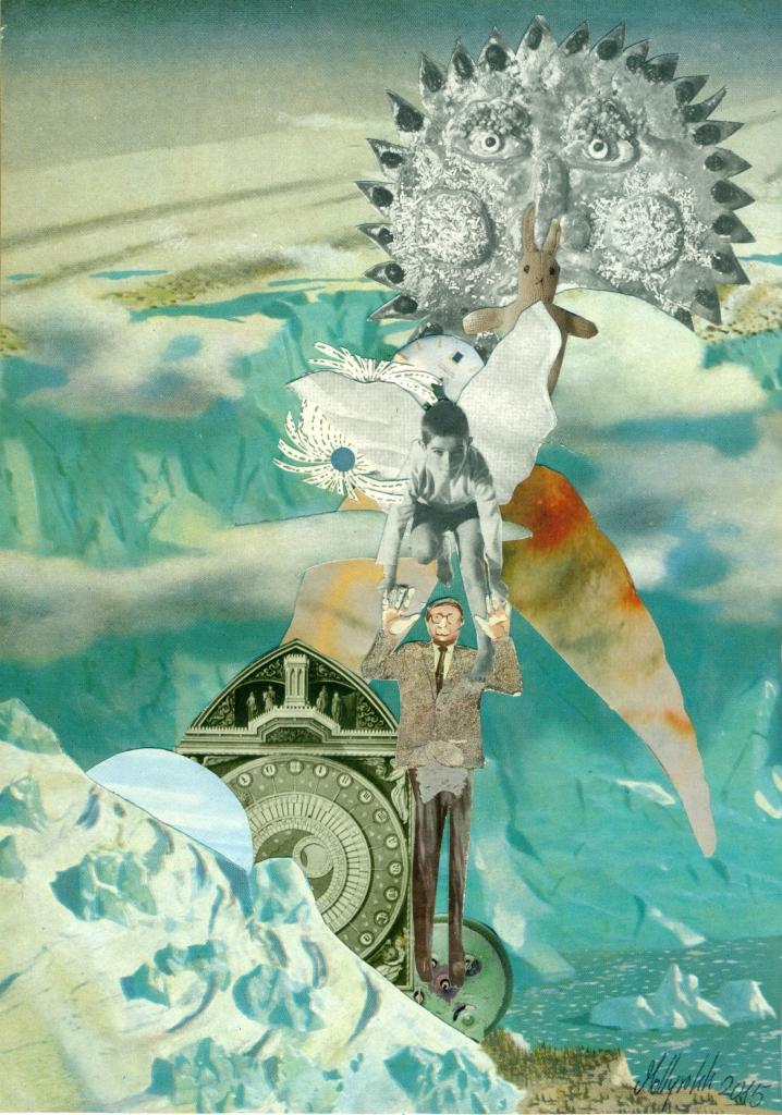 unter einer grauen Sonne schwebt ein Engel, der einen Mann in Anzug und Kravatte an den Händen hält.